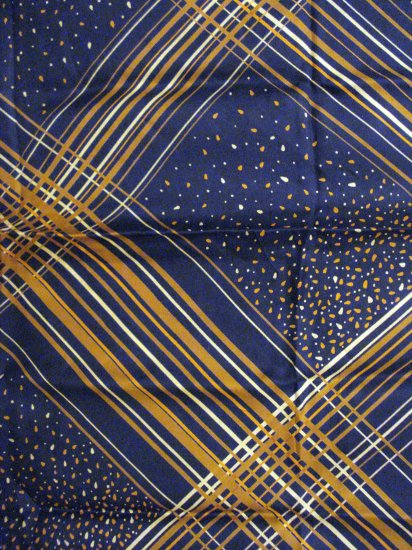 Navy brown diagonal stripes and dots silk scarf rolled hem excellent vintage ll2751