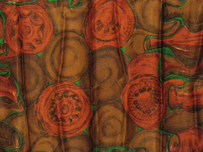 Satin faced silk scarf jugs pots kegs large square excellent vintage ll2753