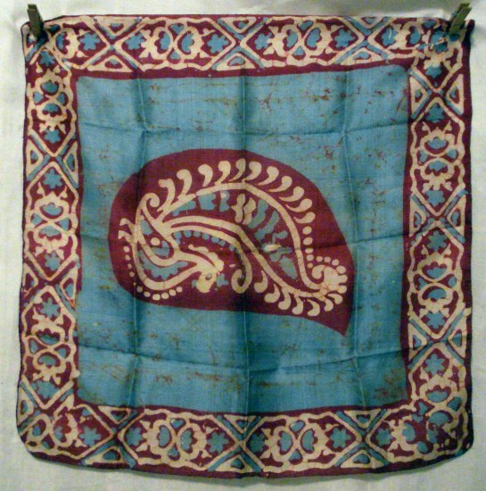 Batik printed silk scarf small square blue burgundy excellent vintage ll2754