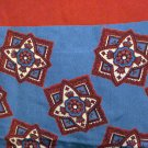Stars on squares silk scarf large square blue burgundy excellent vintage ll2755