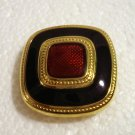 Classic clip earrings gold tone enamel cloisonne squares excellent vintage ll2767