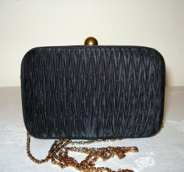 Goldco shirred satin black evening bag box shape shoulder chain vintage ll2773