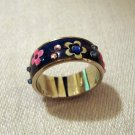 Friendship ring stainless with cloisonne flowers stones size 7 pre-owned perfect ll2799