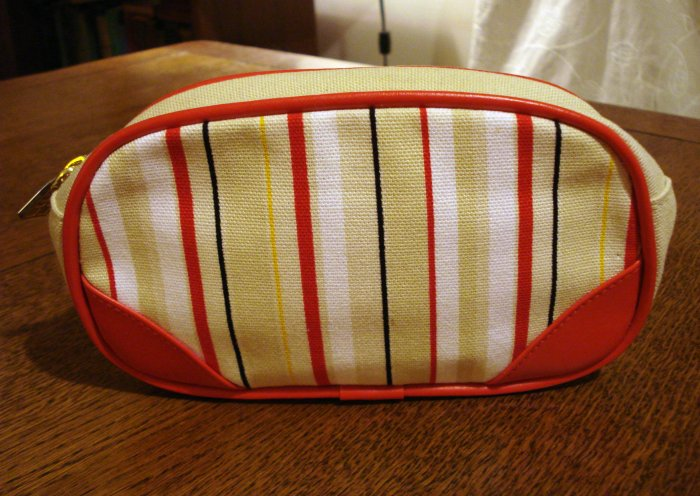 Elizabeth Arden striped canvas cosmetic bag snap out key ring unused vintage ll2802