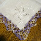 Lavender crocheted lace edge white linen hanky whitework threadwork vintage unused ll2812