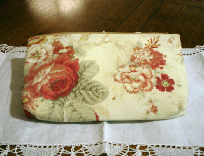 MaggiB clutch purse cosmetics bag wipe clean lining muted floral unused ll2813