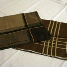 2 Men's cotton hankerchiefs brown stripes windowpane check excellent vintage ll2816