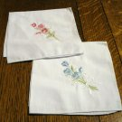 2 Embroidered white hankies cotton pink and blue florals excellent vintage ll2817