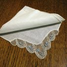 Vintage linen hanky embroidered net lace corner excellent condition ll2825