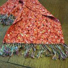 Sequin by Congoleum double thick coat scarf knotted silk fringe reds excellent vintage ll2838
