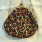 Du-Val Petitpoint floral tapestry evening bag wrist chain Lurex unused vintage ll2841