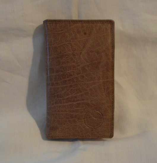 Tan leather card case unisex 16 slots preowned excellent ll2844