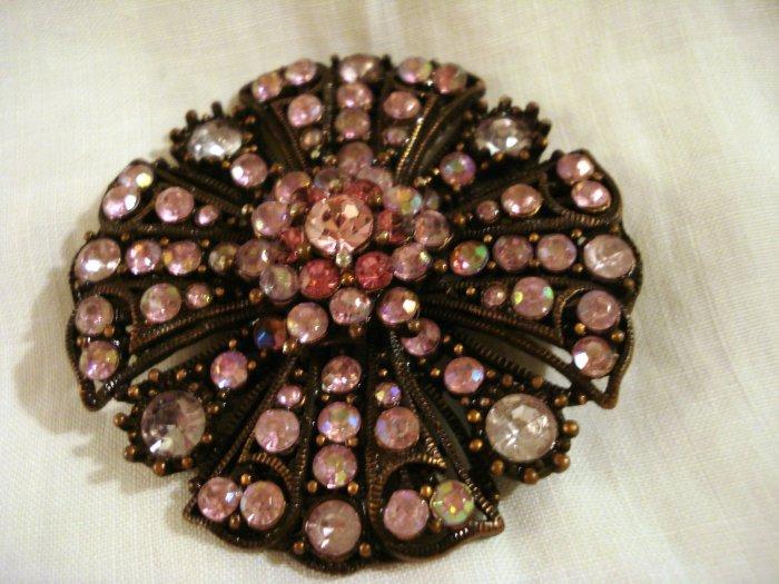 Pink rhinestones brooch pin set in copper rose window setting vintage ll2852