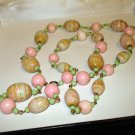 Pastel bead necklace pink sand wooden summery vintage ll2860