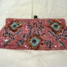 Pink satin sequins beads clutch evening bag w chain made India preowned ll2865