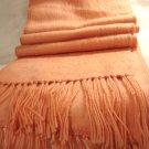 Alpaca long fringed muffler or peach scarf brushed wool unused preowned  ll2876
