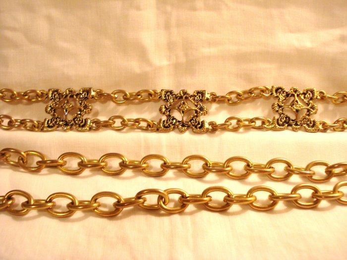 Brass chain belt 6 Florentine motifs adjustable to 40 inches vintage ll2887