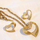 Vendome heart pendant and pierced earrings rhinestones, gold tone, chain vintage ll2895