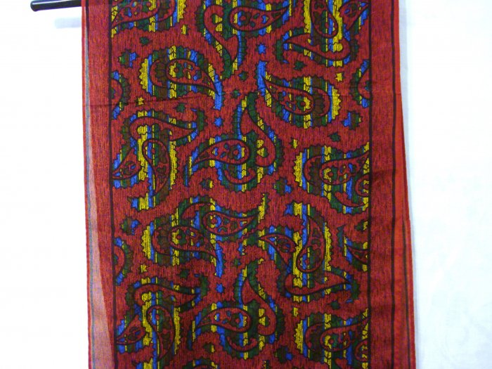 Elaine Gold long silk scarf brick with paisley excellent pre-owned vintage ll2900