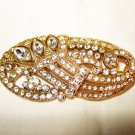 Gold tone and rhinestones elegant paisley shaped brooch preowned  ll2910