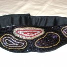 All bead evening belt black multi-colored irridescent short bugle 30 inch waist pre-owned ll2913