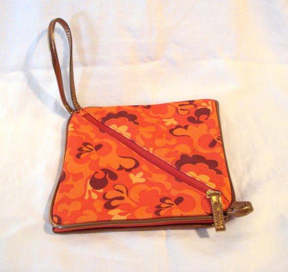 Octahedral shaped wristlet orange mod design fabric pre-owned ll2915