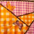 Gloria Vanderbilt long scarf silk butterflies rick-rack gingham check  Exc  vintage ll2963
