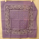 Lilac and white paisley cotton bandanna scarf excellent pre-owned ll2971