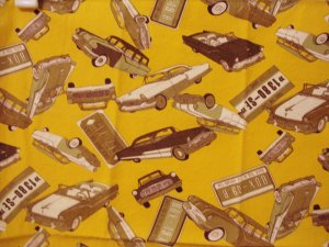 1950s Classic cars printed on cotton bandanna scarf vintage ll2975