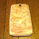 Chinese brocade eyeglasses case holder peach red pagodas blossoms unused preowned ll2979