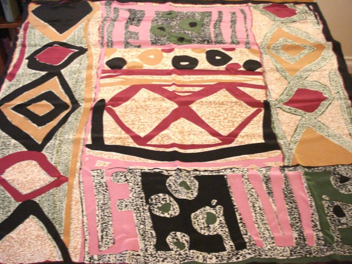 Abstract art designed large silk scarf rose ocher pine wine black great vintage ll2981