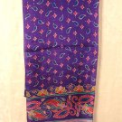 Liz Claiborne long silk scarf purple turquoise red 52 inches unused vintage ll2985