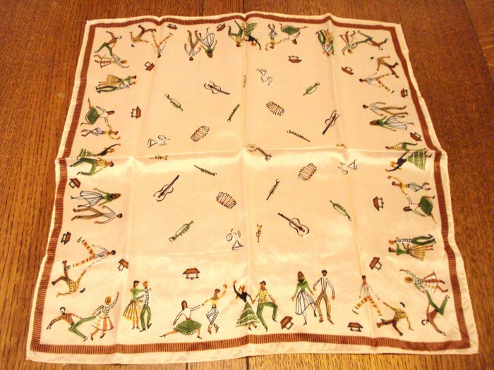 Jitterbug musical instruments acetate square scarf vintage ll3018