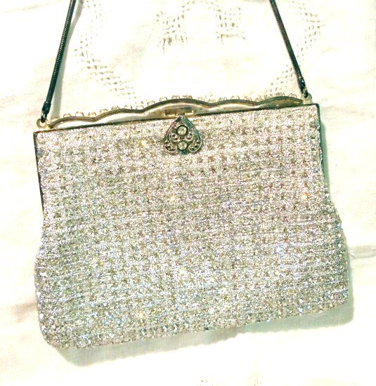 Woven Lurex prong set crystals evening bag silver tone excellent vintage ll2538
