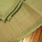 2 Green linen hankies plain threadwork edges excellent vintage ll3021