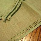 2 Green linen hankies plain threadwork edges excellent vintage ll3021
