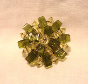 Austrian crystal bead radial cluster earrings clip olive clear vintage ll3028