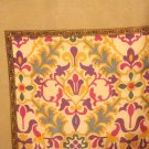 Liz Claiborne large silk scarf taupe coffee burgundy green tulip motif vintage ll3038