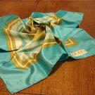 Doro aqua turquoise ocher silk scarf rolled hem unused vintage ll3043