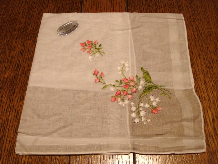 Made in Switzerland white linen hanky embroidered pink green unused vintage ll3048