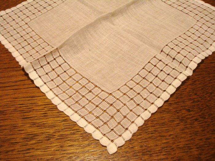 White linen hanky extensive threadwork frame antique ll3059