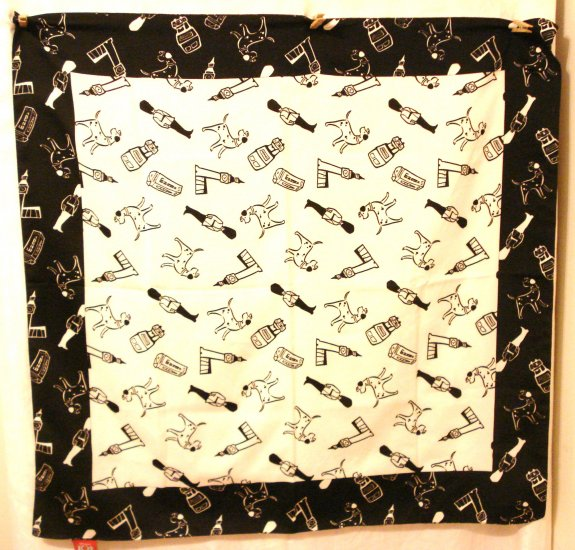 Disney's Dalmations black white polyester scarf large square excellent vintage ll3077