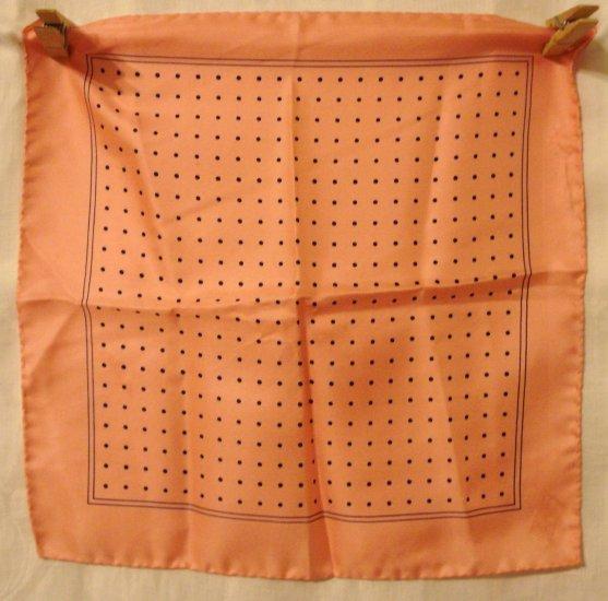 Polka dots on salmon pink small silk scarf hanky or pocket puff unused vintage ll3083