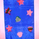 Echo royal blue long silk scarf striped hearts stars excellent vintage ll3102