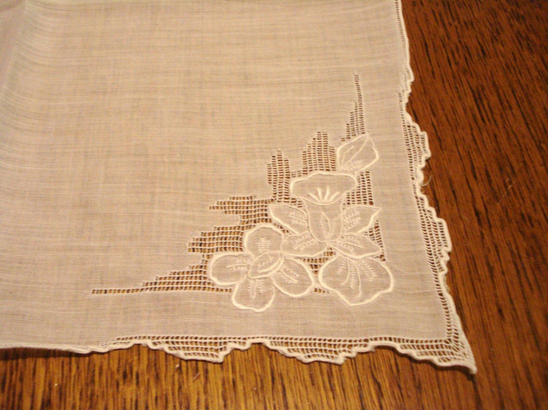Antique handmade white linen hanky whitework threadwork wedding  ll3126