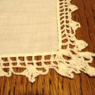 Lavish lace edged handmade ivory linen hanky threadwork wedding fancy ll3127