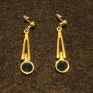 Drop earrings faceted dark green glass tip post butterfly pierced vintage ll3141