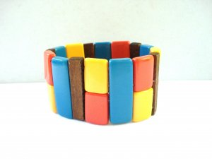 Colorful stretch bracelet plastic wood wide pre-owned ll3176