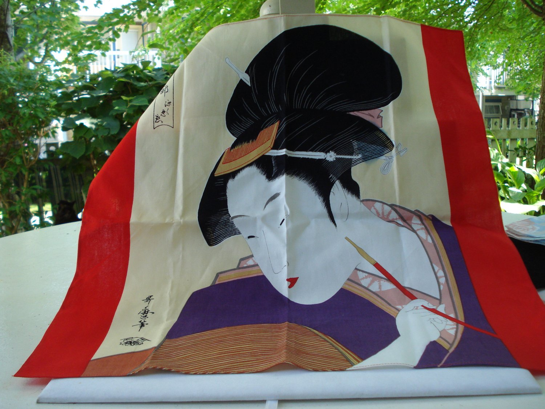Japanese Geisha girl bandanna or hanky traditional costume cotton ll3190