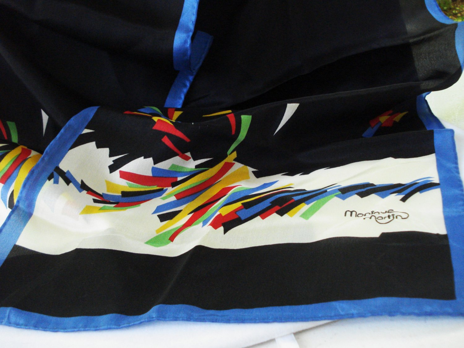 Monique Martin long silk scarf primary colors on black vintage ll3194